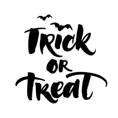 Illustration pour Trick ou traiter la carte de vœux halloween manuscrite - image libre de droit