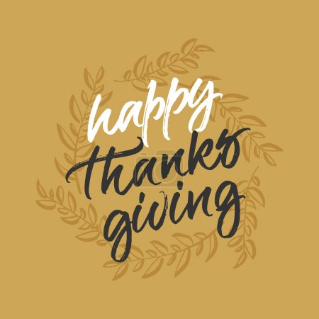 Illustration for Happy Thanksgiving greeting card. Handwritten calligraphy with autumn leaves wreath. - Royalty Free Image