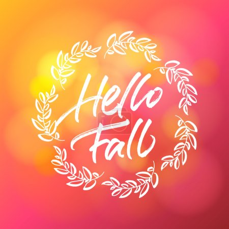 Illustration for Hello fall greeting card. Handwritten lettering with autumn wreath. - Royalty Free Image