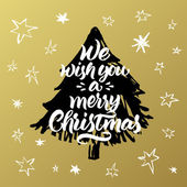 Hand painted greeting card We wish you a merry Christmas