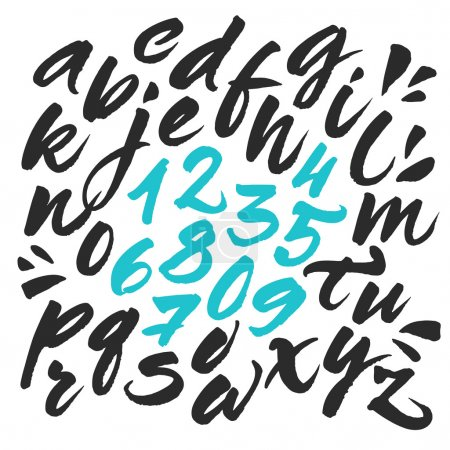 Illustration for Hand painted brush alphabet. Expressive calligraphic brush script letters. Vector alphabet letters and numbers handwritten with black ink. Isolated abc on white background - Royalty Free Image