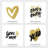 Love cards for wedding and Valentine's day Hand brush lettering with ink and golden sparkling hand painted hearts Modern calligraphic design
