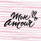 Handwritten love card Mon Amour