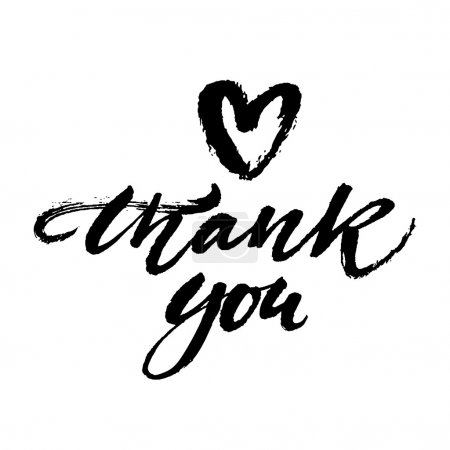 Illustration for Thank you card. Hand painted brush lettering isolated on white background. Modern calligraphy. Vector illustration. - Royalty Free Image