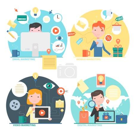 Illustration pour Icônes de concept design plat pour mobile marketing, e-mail marketing, vidéo marketing et digital marketing. - image libre de droit