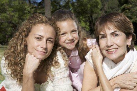 three generations of family at park
