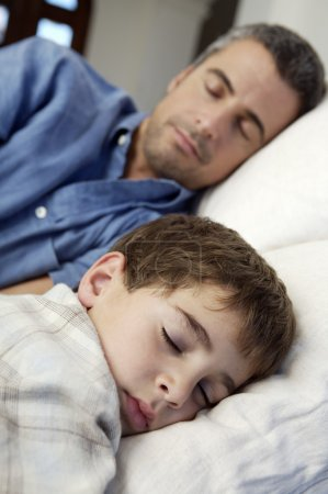 Father and son sleeping