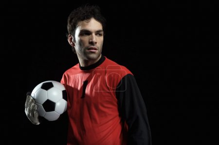 Goalkeeper in red unifirm