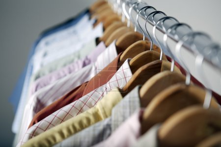 Photo for Close up of clothing rack with colorful clothes - Royalty Free Image