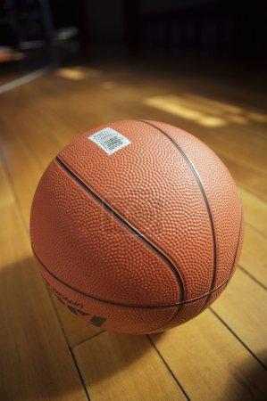 basketball ball lying on floor