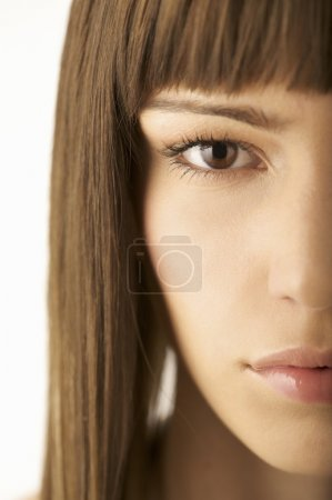 woman with straight hair and bangs