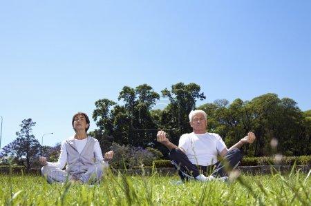 Foto de Una pareja de ancianos practicando yoga en el parque de verano - Imagen libre de derechos