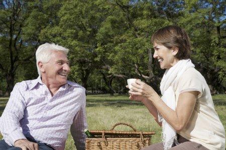 Foto de Mujer hermosa en un picnic con su anciano marido - Imagen libre de derechos