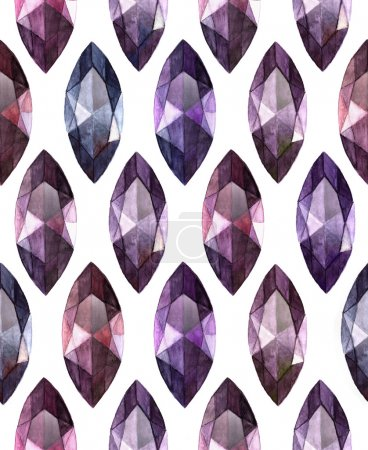 Marquise cut amethyst.  Watercolor seamless  pattern of gemstones on white background