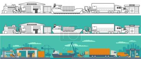 Logistic - warehouse, ship, truck, car