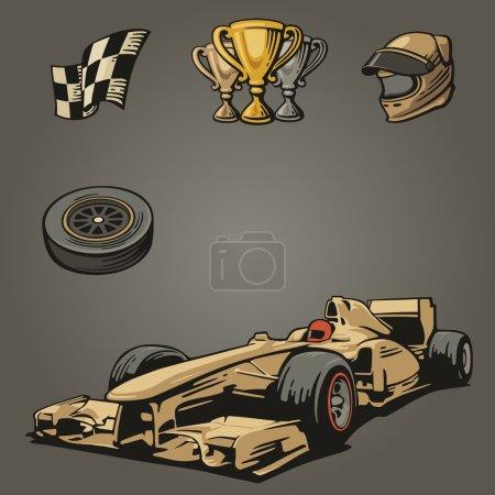 F1 Car sport set symbols.