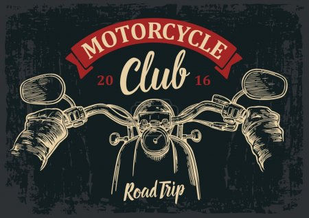 Illustration for Biker driving a motorcycle rides. View over the handlebars of motorcycle. Vector engraved illustration isolated on dark vintage background. For web, poster motorcycle  club - Royalty Free Image