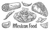 Mexican traditional food set with text message burrito tacos chili tomato nachos