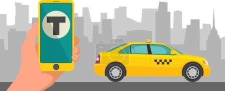 Illustration pour Téléphone avec interface taxi sur un écran sur un taxi de fond dans la ville. Application mobile pour réserver un service de taxi. Illustration vectorielle plate pour entreprises, infographie, bannière, présentations . - image libre de droit