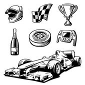 Car race icons set Formula 1  Helmet wheel tire speedometer cup flag Vector flat illustration isolated on white background