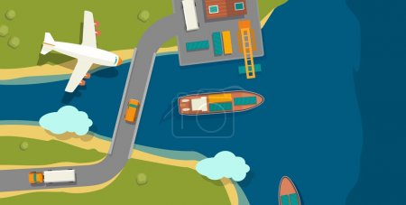 Illustration of a cargo port in flat vector style. Top view. Ship, harbor, sea, boat, crane, dock, airplane and track. For horizontal banner industry shipping transport.