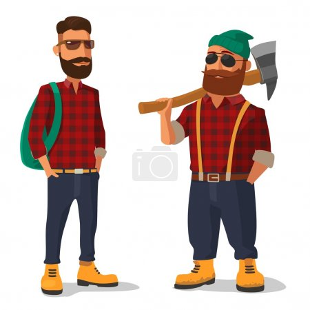 Illustration for Lumberjack and hipster in the yellow shoes and a red plaid shirt. Vector flat illustration on white background. - Royalty Free Image
