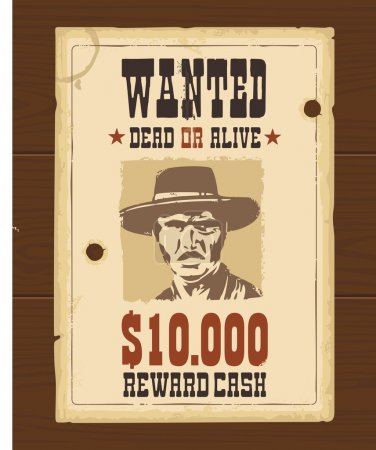 Vector Vintage western retro Wanted Poster template. Old paper texture dark on wood surface.