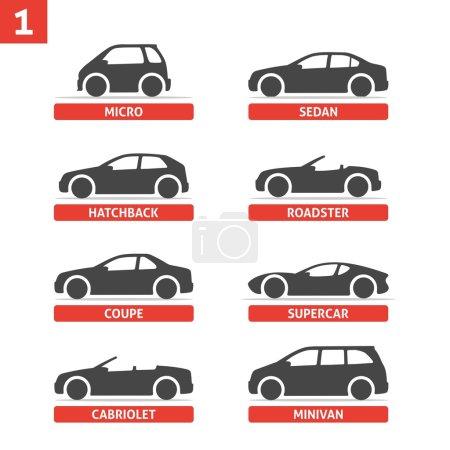 Illustration pour Type de voiture et modèle d'objets icônes Set, automobile. Illustration vectorielle noire isolée sur fond blanc avec ombre. Variantes de silhouette de carrosserie de voiture pour toile . - image libre de droit