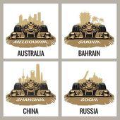 Set vintage poster Grand Prix Melbourne Australia Sakhir Bahrain Shanghai China Sochi Russia  Vector for poster web