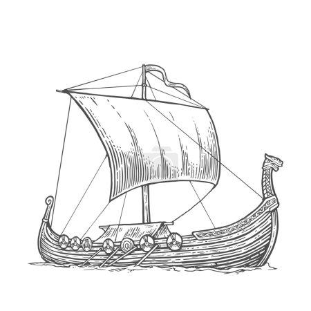 Illustration pour Drakkar flottant sur les vagues de la mer. Élément de design dessiné à la main voilier. Illustration de gravure vectorielle vintage pour affiche, étiquette, cachet de la poste. Isolé sur fond blanc - image libre de droit