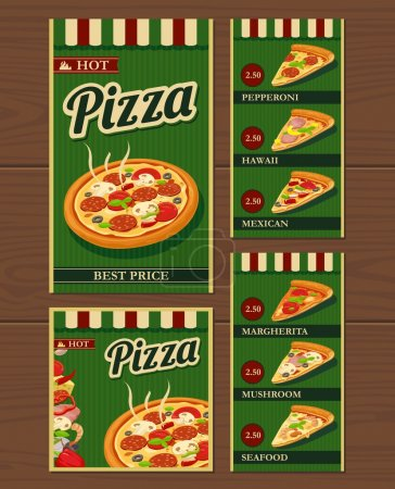 Whole pizza and slices of pizza and the ingredients. Pepperoni, Hawaiian, Margherita, Mexican, Seafood, Capricciosa. Isolated vector retro vintage illustration for poster, menus, logotype, brochure.