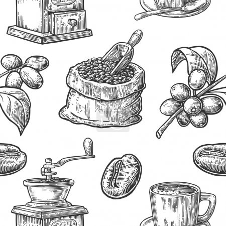 Illustration for Seamless pattern with coffee, bean and branch. Black and white color. Vintage vector hand drawn engraving illustration. Isolated on white background. - Royalty Free Image