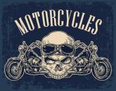 Motorcycle side view and skull with glasses