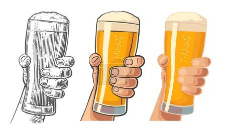 Illustration pour Main d'homme tenant un verre de bière. Dessin en trois styles graphiques. Gravure vectorielle vintage et illustration plate pour le web, affiche, invitation à la fête et anniversaire . - image libre de droit