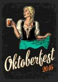 Young sexy Oktoberfest woman wearing a traditional Bavarian dress dirndl dancing and holding beer mug