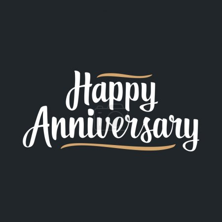 Illustration for Happy anniversary. Vector illustration isolated on black background. - Royalty Free Image