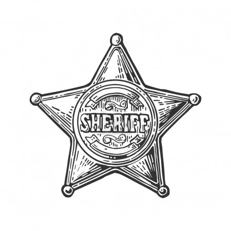 Illustration for Sheriff star. Vintage black vector engraving illustration for western poster, web, police badge. Isolated on white background. - Royalty Free Image