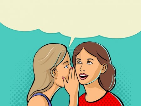 Illustration for Woman whispering a secret into the ear of her girlfriend. Vector color flat illustration isolated on cyan background - Royalty Free Image