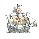 Sailing ship floating on the sea waves Caravel Santa Maria