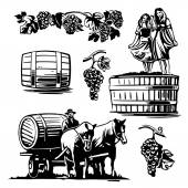 Women dancing in a barrel with grapes and charioteer on the cart with a horse driven wine.