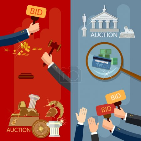 Auction banners hands and money buying antiques and real estate
