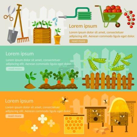 Spring gardening banners seedling cultivation beekeeping