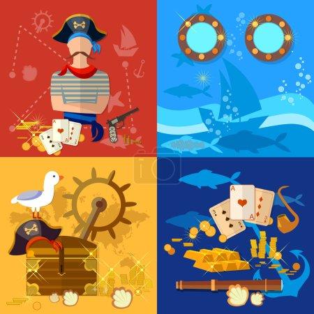 Pirate adventure set treasure chest flask of rum seagull