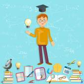 Education schoolboy goes to school power of knowledge