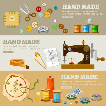 Tailor banners hand made concept atelier clothing  tailoring tools