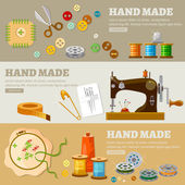 Tailor banners hand made concept fashion houses atelier clothing tailoring tools vector illustration