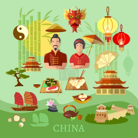Illustration for China Chinese traditions and culture travel concept vector collection - Royalty Free Image