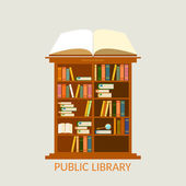 Public library bookcase education and knowledge