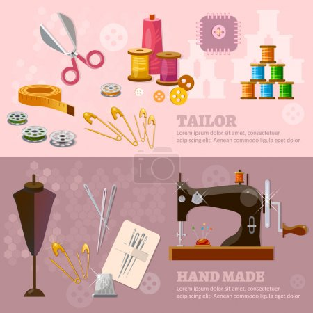 Seamstress and tailor banners sewing machine tailoring clothes