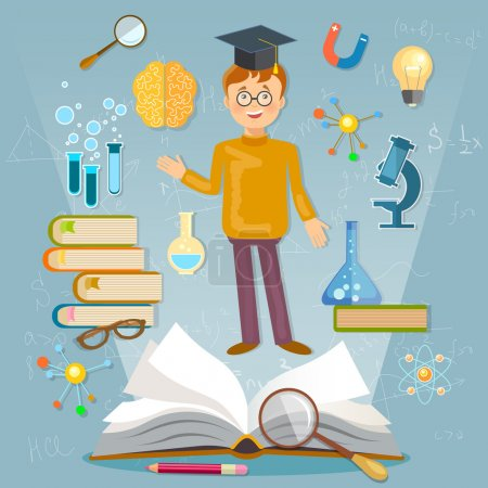 Illustration for Education back to school student studying school subjects vector illustration - Royalty Free Image
